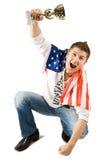 Gagnant avec l'indicateur américain images libres de droits