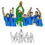 Gagnant d'équipe de football dans la chemise bleue de débardeur tenant le vect de trophée de but Image libre de droits