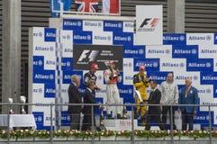 Gagnant de course de formule 1 de Lewis Hamilton Photographie stock libre de droits
