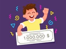 Gagnant de loterie heureux de garçon, tenant un chèque de banque illustration stock