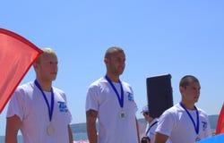 Gagnants d'hommes de cérémonie de remise des prix de Galata-Varna Images stock
