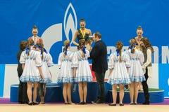 Gagnants de récompense sur la gymnastique rythmique Image libre de droits