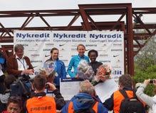 Gagnants - femelle de marathon de Copenhague Images libres de droits