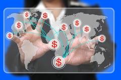 Gagner l'argent à partir du monde Photo stock