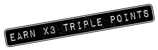 Gagnez à X3 le tampon en caoutchouc de points triples Photographie stock libre de droits