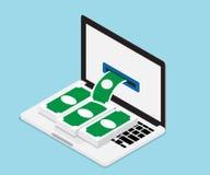 Gagnez l'argent à partir de l'ordinateur portable illustration libre de droits