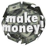 Gagnez l'argent gagner la boule de devise de revenu de bénéfice de revenu Photo libre de droits