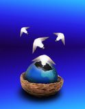 Gaia gives birth. Ideas spring from an eggshell earth Royalty Free Stock Photo
