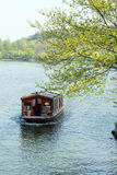 Gaily-painted pleasure-boat and green tree Stock Photo