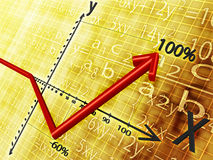 Gain. On a yellow background shows a graph and the red arrows show the rise Royalty Free Stock Images