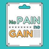 gain no pain Εμπνευσμένο και κινητήριο απόσπασμα, φράσεις στο επίπεδο ύφος Στοκ Φωτογραφία
