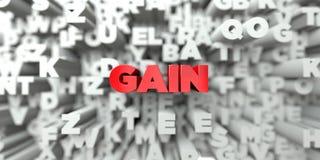 GAIN - Texte rouge sur le fond de typographie - 3D a rendu l'image courante gratuite de redevance Images stock