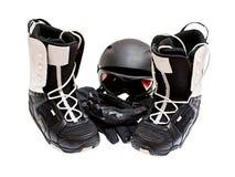 Gaines de Snowboard, casque, gants, glaces Image libre de droits