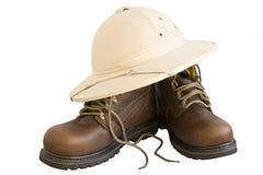 Gaines et chapeau de safari d'isolement Image stock