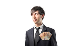 Gainful business. Portrait of a businessman with some banknotes in his breast pocket Royalty Free Stock Photo