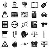 Gaining knowledge icons set, simple style. Gaining knowledge icons set. Simple set of 25 gaining knowledge vector icons for web  on white background Stock Image