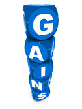 Gains. Word built with stacked word blocks in glossy blue over white background, capital and personal  concept Stock Photo