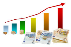 Gains chart with money Royalty Free Stock Images