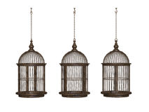 Gaiola de pássaro antiga de madeira ilustração royalty free