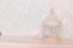 Gaiola de pássaro branca no assoalho de madeira Imagem de Stock