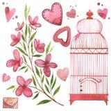 Gaiola de pássaro com flores Grupo do rosa da aquarela de elementos para o dia do ` s do Valentim Elementos do projeto do álbum d ilustração royalty free