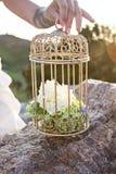 Gaiola para pássaros com flores decor fotografia de stock royalty free