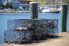 Gaiolas da lagosta no cais de Nova Inglaterra Fotos de Stock Royalty Free