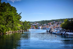 Gaios port at Paxos island in Greece. Royalty Free Stock Image