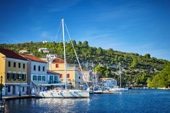 Gaios port at Paxos island in Greece. Royalty Free Stock Images