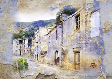 Gairo Vecchio, Sardegna, Italia - immagine disegnata Immagine Stock