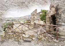 Gairo Vecchio, Sardegna, Italia - immagine disegnata Fotografia Stock