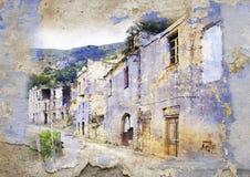 Gairo Vecchio, Sardinige, Italië - gestileerd beeld stock afbeelding