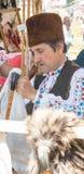 Gaitas de fole do vendedor no festival de Rozhen 2015 em Bulgária Fotografia de Stock