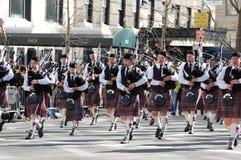 Gaitas en el desfile del día del St. Patrick de Nueva York Imagen de archivo libre de regalías