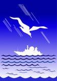 Gaivota de marfim e barco branco ilustração royalty free