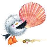 Gaivota do pássaro de mar Fundo engraçado marinho Ilustração da aguarela Fotos de Stock