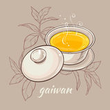 Gaiwan on brown background. Vector illustration with gaiwan on color background Royalty Free Stock Photo