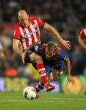 Gaizka Toquero(L) vies with Alves(R) of Barcelona Stock Photos