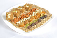 Gajak with dry fruits Royalty Free Stock Photography