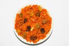 Gajar halwa is carrot based pudding made with khya,milk,almond,pistachio royalty free stock photo