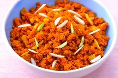 Gajar Halwa or carrot halva. Gajar Halwa-carrot pudding or Indian carrot cake made with carrots,sugar,milk and dry fruits.Punjabi cuisine dessert Stock Photo