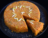 Gajar Halwa. (carrot pudding) or Indian carrot cake made with carrots,sugar,milk and dryfruits Stock Photo