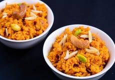 Gajar Halwa. Carrot; pudding; Indian Dessert Stock Photo