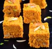 Gajar Halwa Chowki. Gajar Halwa(carrot pudding) Indian Dessert Stock Photo