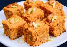 Gajar Halwa Chowki. Gajar Halwa(carrot pudding) Indian Dessert Stock Photography