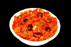 Gajar-halwa ist Karotte basierte den Pudding, der mit khya, Milch, Mandel, Pistazie gemacht wird stockfotografie