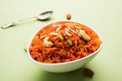 Gajar Halwa o zanahoria Halwa Fotos de archivo libres de regalías