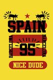 Gajo agradável da Espanha, Barcelona, vetor da forma do projeto do t-shirt [Convertido] ilustração stock