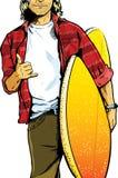 Gajo masculino do surfista que carreg uma prancha ilustração stock
