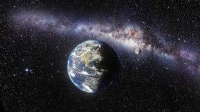 Galáxia da terra, da lua e da Via Látea fotografia de stock